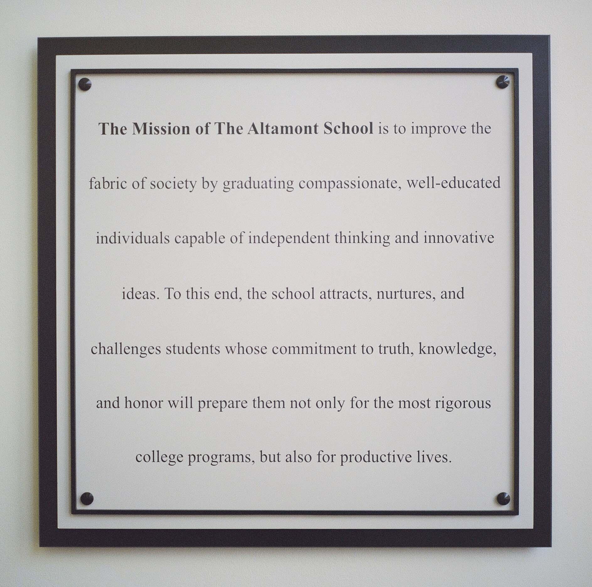 Mission Values The Altamont School